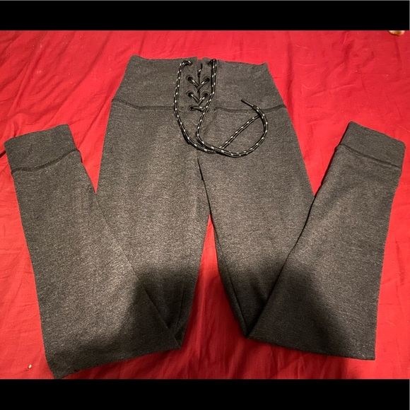 AERIE CHILL PLAY MOVE GREY TIE-FRONT LEGGINGS